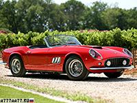 1960 Ferrari 250 GT SWB California = 240 км/ч. 281 л.с. 8 сек.