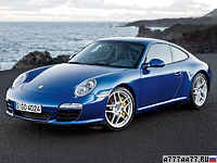 2008 Porsche 911 Carrera S Coupe (997) = 303 км/ч. 385 л.с. 4.5 сек.