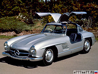 1954 Mercedes-Benz 300 SL Gullwing = 211 км/ч. 215 л.с. 7.4 сек.