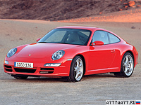 2005 Porsche 911 Carrera S Coupe (997) = 293 км/ч. 355 л.с. 4.6 сек.